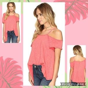 FREE PEOPLE RED CORALINE COLD SHOULDER TOP